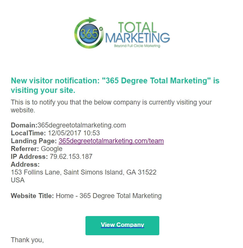 Lead generation notification by 365 Degree Total Marketing